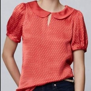 Anthropologie Hi There red polka dot top